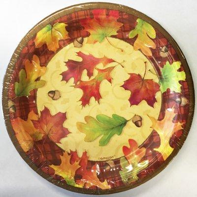 Тарелки бумажные 20 см Осенние листья 8 штук