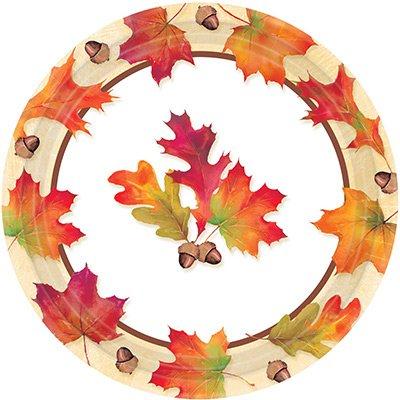 Тарелки бумажные 23 см Осенние листья 8 штук