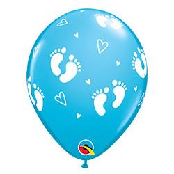 Шар 30 см Пяточки детские Голубой Пастель