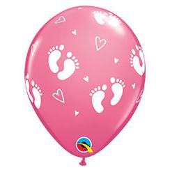 Шар 30 см Пяточки детские Розовый Пастель