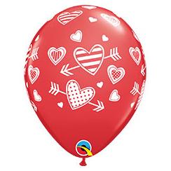 Шар 30 см Сердца узорные со стрелой Красный Пастель