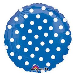 Шар 46 см Круг Горошек белый на синем