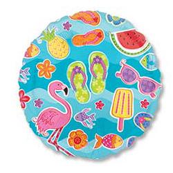 Шар 46 см Круг Летняя фантазия Фламинго Арбуз