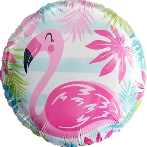 Шар 46 см Круг Фламинго голубые полосы