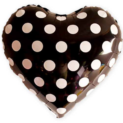 Шар 46 см Сердце Белые точки Черный