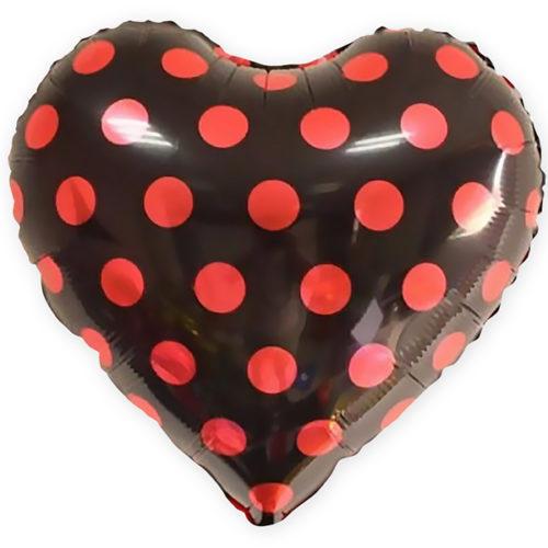 Шар 46 см Сердце Красные точки Черный