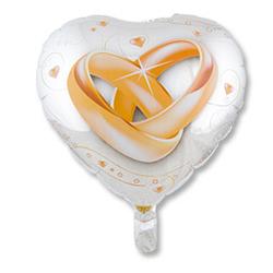 Шар 46 см Сердце Свадьба кольца