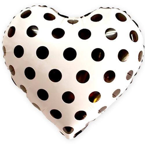 Шар 46 см Сердце Черные точки Белый