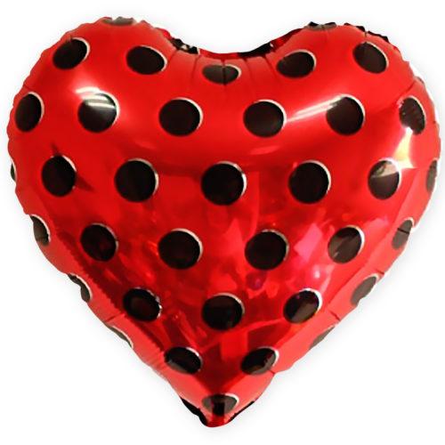 Шар 46 см Сердце Черные точки Красный