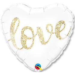 Шар 46 см Сердце LOVE Глиттер золото