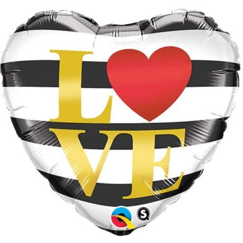 Шар 46 см Сердце LOVE Полоски черно-белые