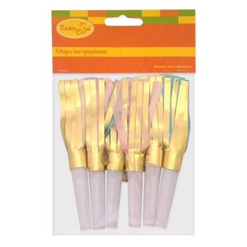 Аксессуары для праздника Свисток бумажный с бахромой 13 см