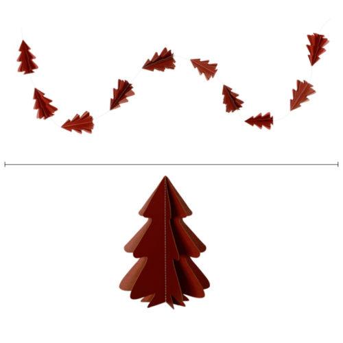 Гирлянда вертикальная Елки 2,5 м 12,5-9 см бордовый