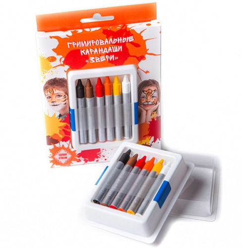 Гримировальные карандаши Звери 6 цветов