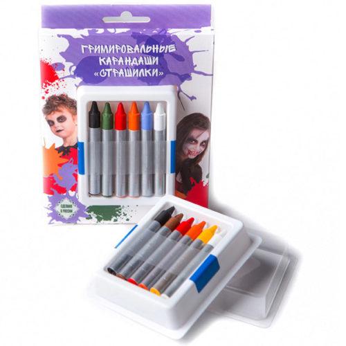 Гримировальные карандаши Страшилки 6 цветов