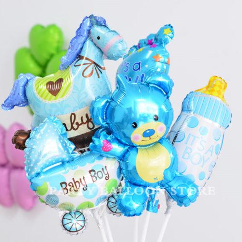 Комплект шаров на палочке с воздухом на Рождение мальчика