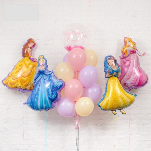 Комплект из шаров Принцессы Диснея и Шар с индивидуальной надписью