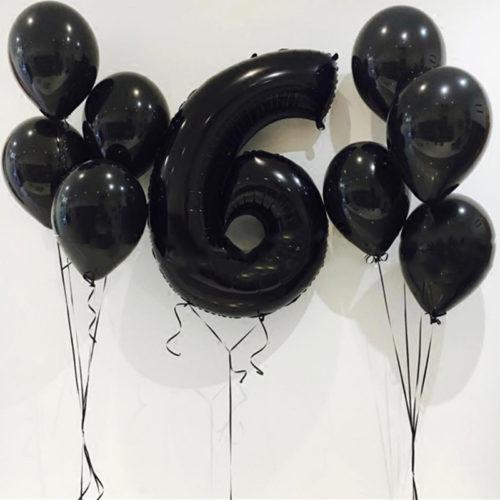Комплект из шаров с Цифрой 6 Черный