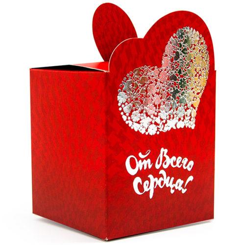 Коробка подарочная 8 х 9 см От Всего Сердца Красный 5 штук