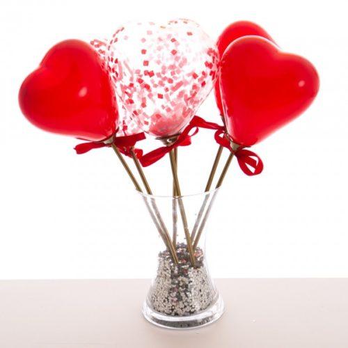 Маленькие шарики на палочке микс с конфетти Любовь 6 штук