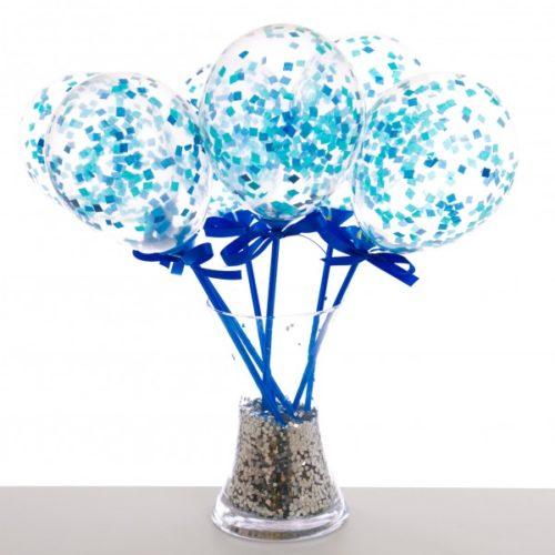 Маленькие шарики на палочке с конфетти Голубой 6 штук