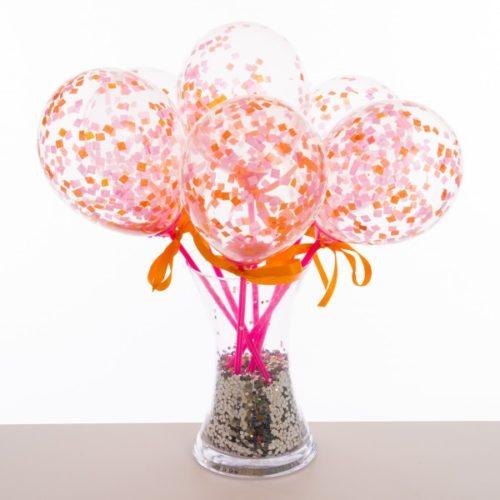Маленькие шарики на палочке с конфетти Коралл 6 штук