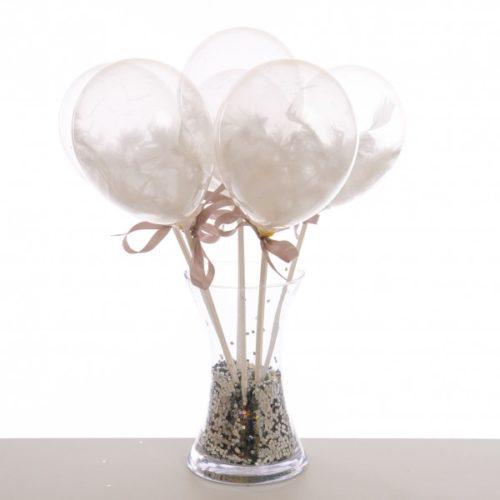 Маленькие шарики на полочке с перьями Белый 6 штук