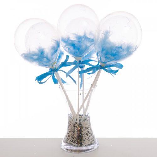 Маленькие шарики на полочке с перьями Голубой 6 штук