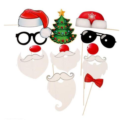 Набор для фотосессии Веселые Деды Морозы 12 штук 21 х 30 см