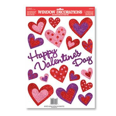 Наклейки на окно Сердца Валентин 17 шт