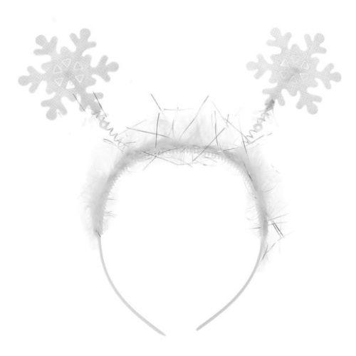 Ободок Снежинки белые с блеском