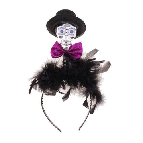 Ободок Череп в шляпе с бабочкой