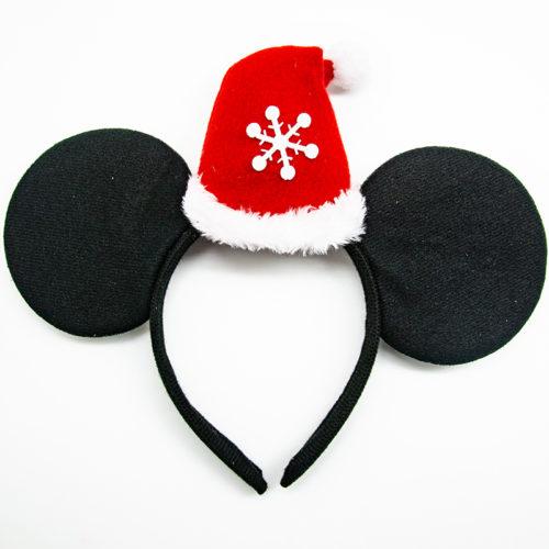 Ободок с ушками Мышка с новогодним колпачком
