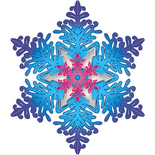Открытка Снежинка С кристаллами фуше