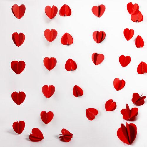 Подвеска Сердца Красный 200 см