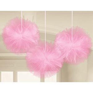 Помпон тюль розовый 30 см 3 штуки