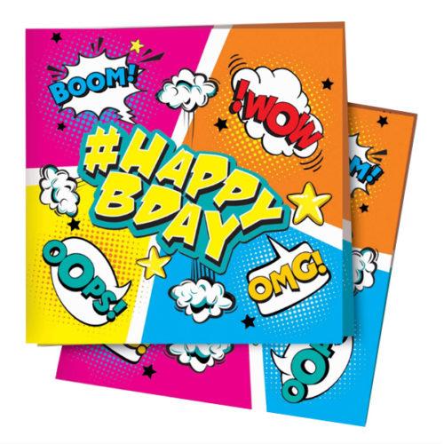 Салфетки 24 Х 24 см Комиксы #HappyBday 12 штук