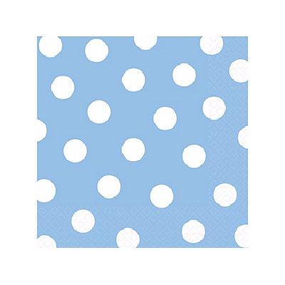 Салфетки 25 х 25 см Голубая Пастель Горошек 16 штук
