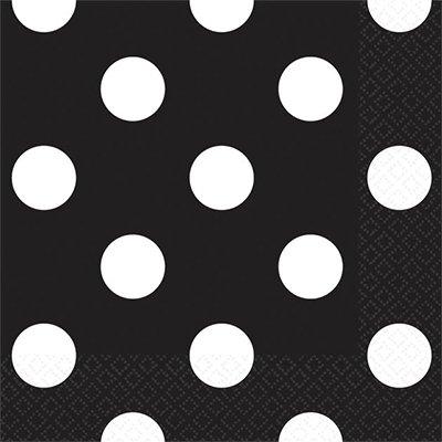 Салфетки 25 х 25 см Черные Горошек 16 штук