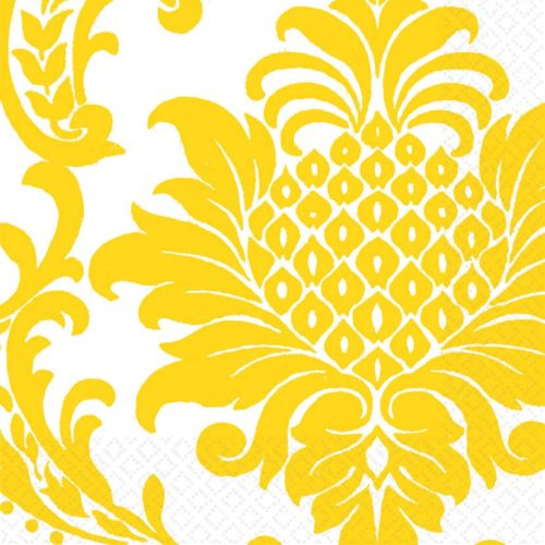 Салфетки 33 х 33 см Солнечно-желтые Дамаск 16 штук