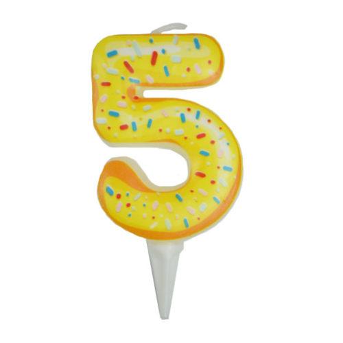 Свеча цифра для торта Цифра 5 Пончик 6 см