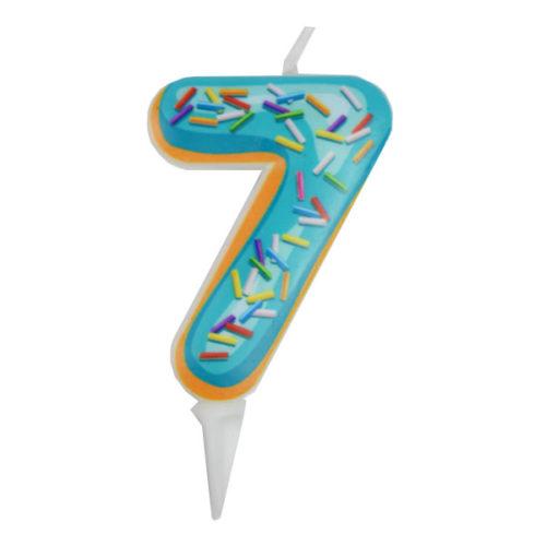 Свеча цифра для торта Цифра 7 Пончик 6 см