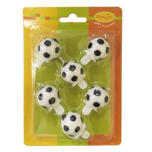 Свечи Футбольный мяч 2,5 см 6 штук