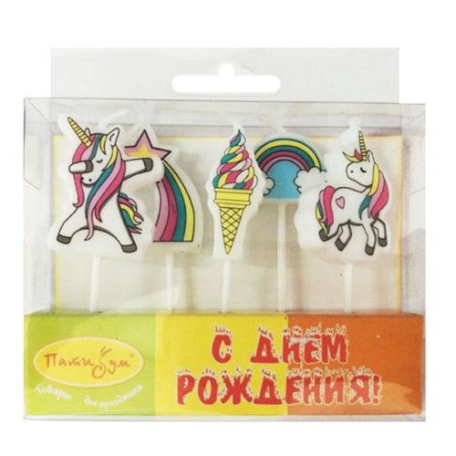 Свечи для торта Единорог 5 штук 3,6 см