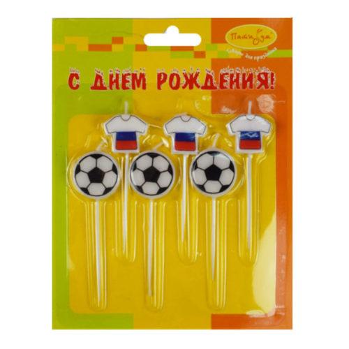 Свечи для торта Футбол Россия 2,5 см 6 штук