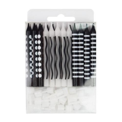 Свечи для торта Черные ассорти 6 см с держателями 24 штуки