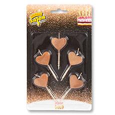Свечи для торта на пиках Сердца Розовое золото 5 штук