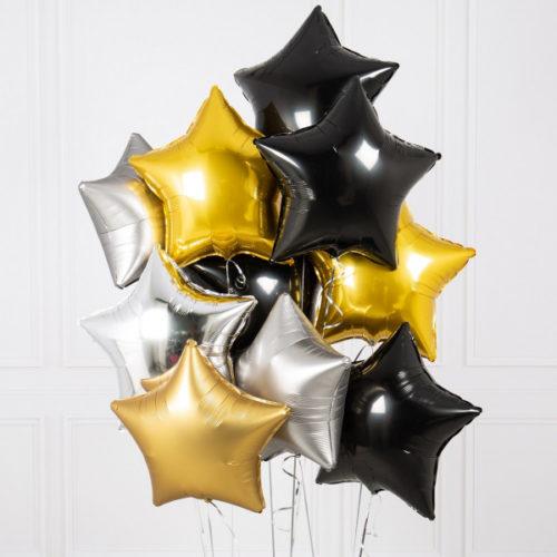 Связка из шаров Ассорти Звезды Золото Черный и Серебро