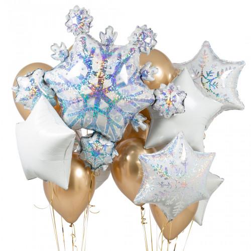 Связка из шаров Ассорти Снежинки Золото Хром и Белый