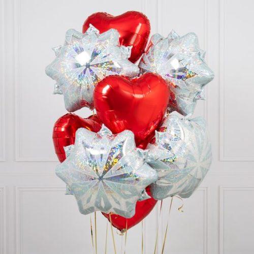 Связка из шаров Ассорти Снежинки и Сердца Красные